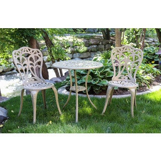 Somette Blossom Sand Cast Aluminum Outdoor 3-Piece Bistro Set