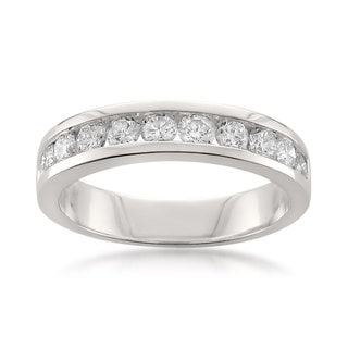 Montebello Platinum 1ct TDW Round-cut White Diamond Channel-set Wedding Band (H-I, SI1-SI2)