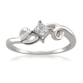 Montebello 14k White Gold 1/10ct TDW Princess-cut White Diamond Composite Set Promise Ring (H-I, I1-I2)