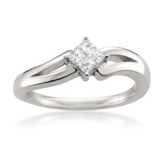 14k White Gold 1/4ct TDW White Diamond Composite Promise Ring (H-I, I1-I2)