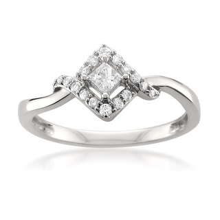 Montebello 14k White Gold 1/4ct TDW Princess-cut White Diamond Engagement Ring (H-I, I1-I2)