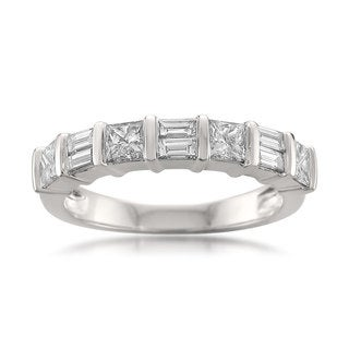 Montebello 14k White Gold 1ct TDW Princess and Baguette-cut Diamond Wedding Band (H-I, I1-I2)