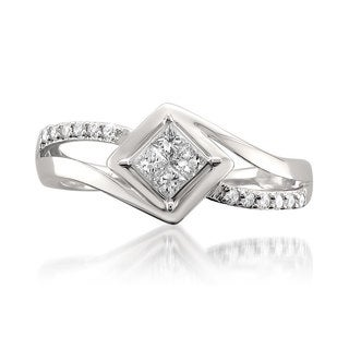 14k White Gold 1/4ct TDW Princess-cut Diamond Composite Engagement Ring (H-I, I1)