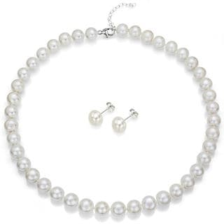DaVonna Sterling Silver White Freshwater Pearl Necklace Earring Jewelry Set