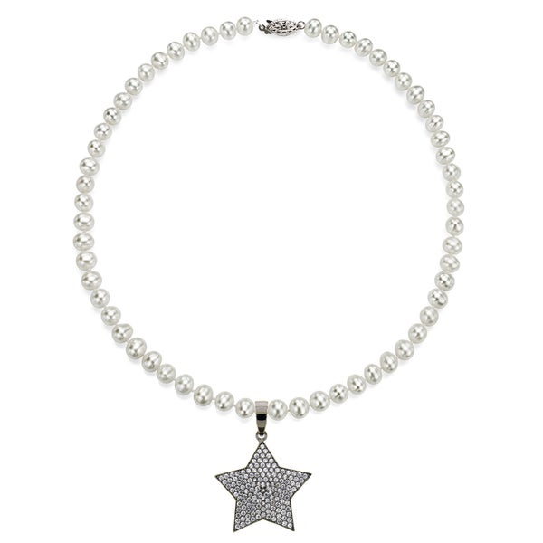 DaVonna Sterling Silver White Freshwater Pearl and CZ Star Charm Necklace