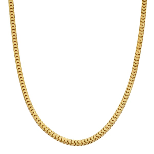 Fremada 14k Yellow Gold High Polish Hollow Square Snake Chain Necklace