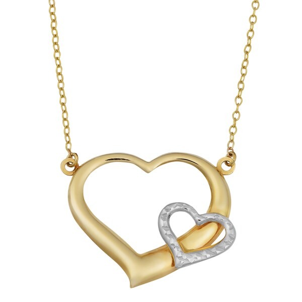 Fremada 14k Two-tone Gold Hearts on Delicate Cable Chain Necklace