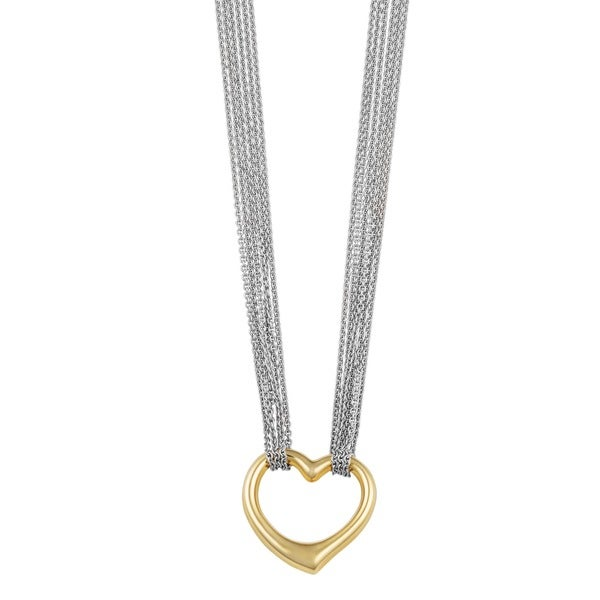 Fremada 14k Two-tone Gold Heart on Multi Strand Chain Necklace