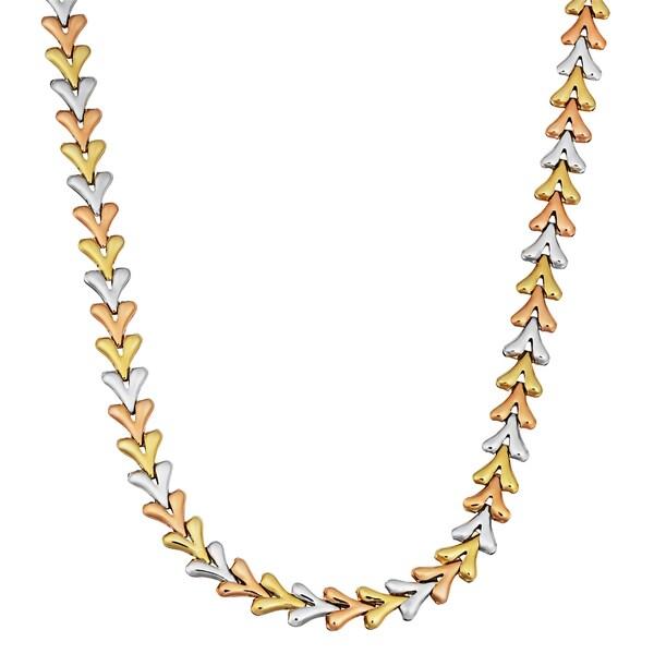 Fremada 14k Tricolor Gold Fancy Arrow Head Link Necklace