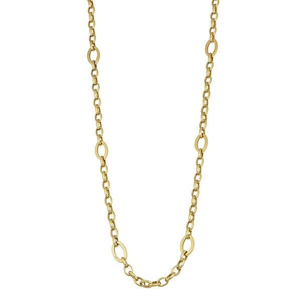 Fremada 14k Yellow Gold High Polish Oval Link Station Necklace