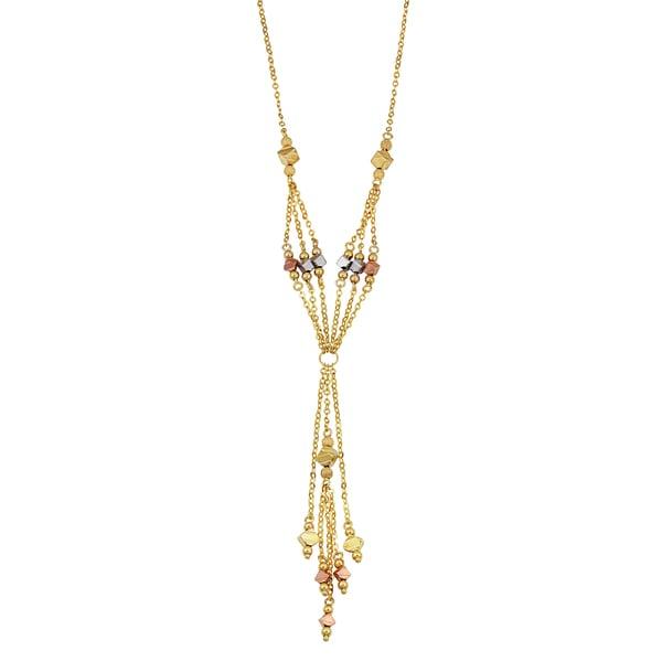 Fremada 14k Tricolor Gold Stylish Lariat Station Necklace (16 inches)