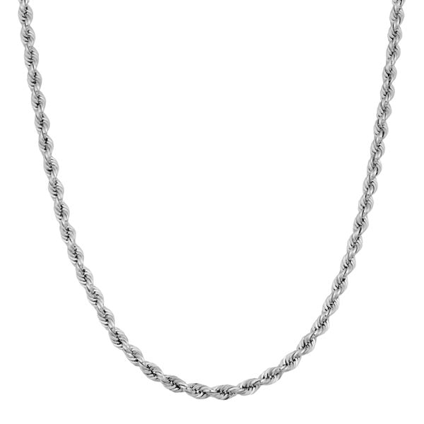 Fremada 14k White Gold Rope Chain Necklace (20 inches)