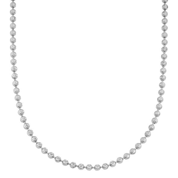 Fremada 14k White Gold Diamond-cut Bead Chain Necklace