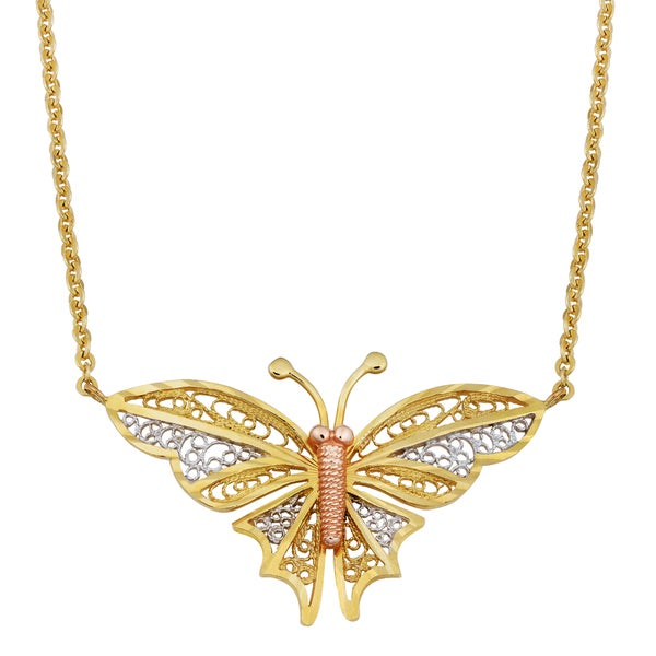 Fremada 14k Tricolor Gold Charming Butterfly Necklace