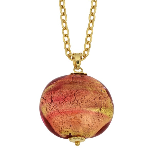 Fremada 14k Yellow Gold and Round Murano Glass Pendant Necklace
