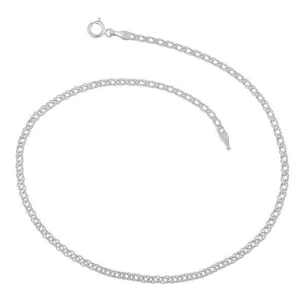 Fremada 14k White Gold 2-mm Diamond Weave Anklet