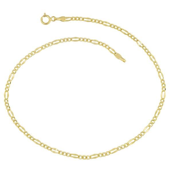 Fremada 14 k Yellow Gold High Polish Flat Figaro Anklet (10 inches)