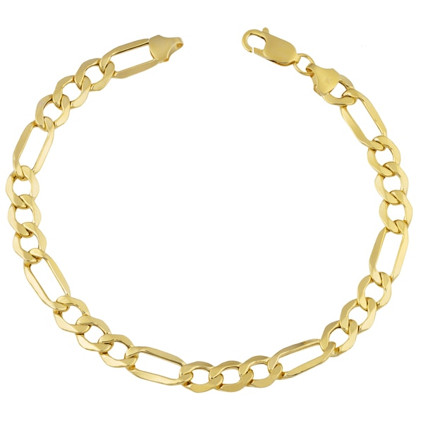 Fremada 10k Yellow Gold Men's Figaro Bracelet (9 inches)