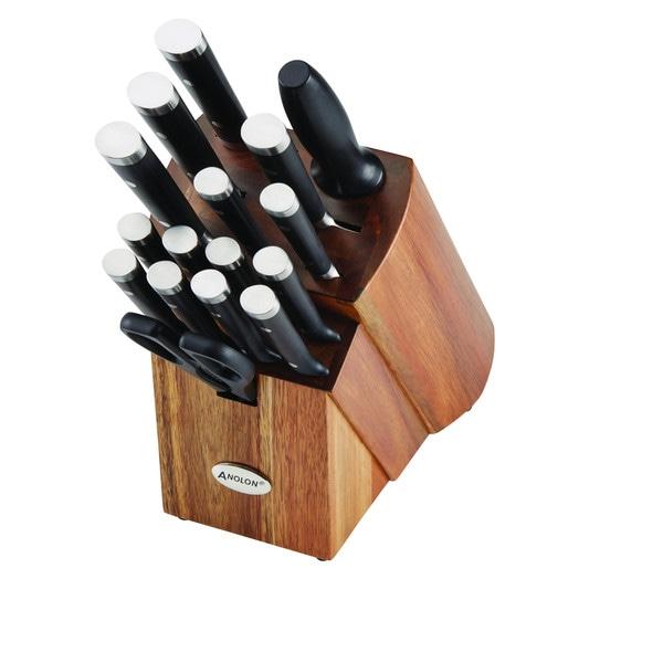 Anolon Cutlery 17-Piece Japanese Stainless Steel Knife Block Set