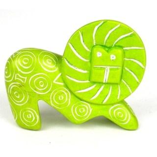 Mini Handmade Green Soapstone Funky Lion Sculpture (Kenya)