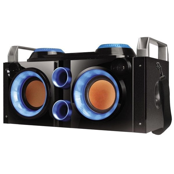 QFX PBX-505200BT Tailgater Black/ Blue Portable Bluetooth PA System Boombox
