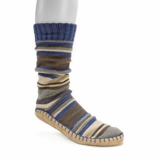 Muk Luks Men's Brown Slipper Socks