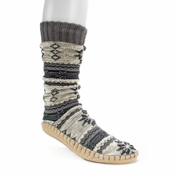 Muk Luks Men's Steel Grey Slipper Socks