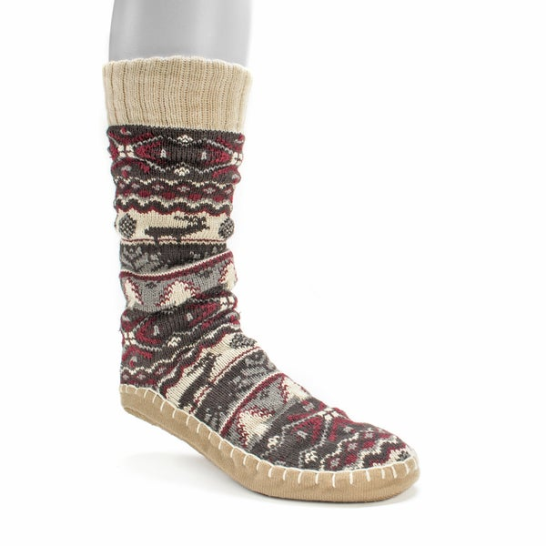 Muk Luks Men's Dark Red Slipper Socks