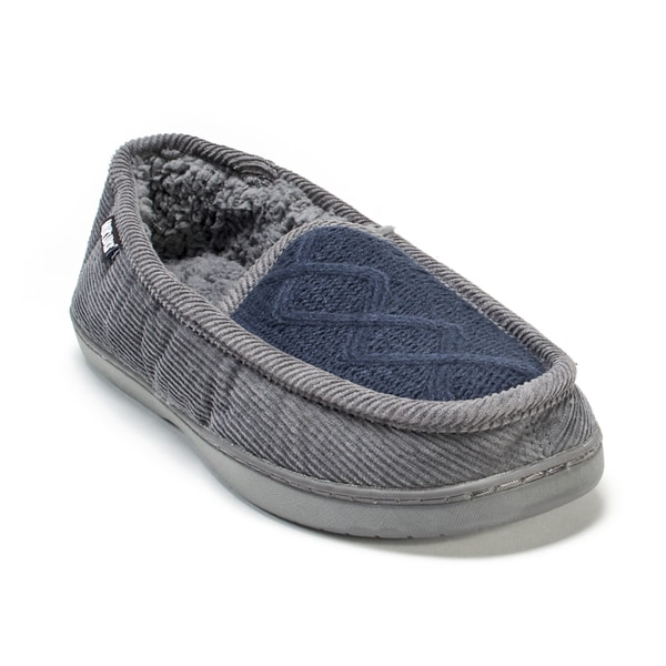 Muk Luks Men's Grey/ Blue Henry Slippers