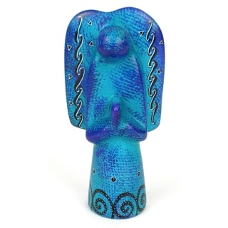 Handcrafted 5-inch Soapstone Angel Sculpture in Blue