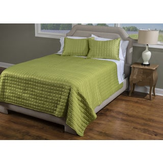 Rizzy Home Satinology Lime 3-piece Quilt Set