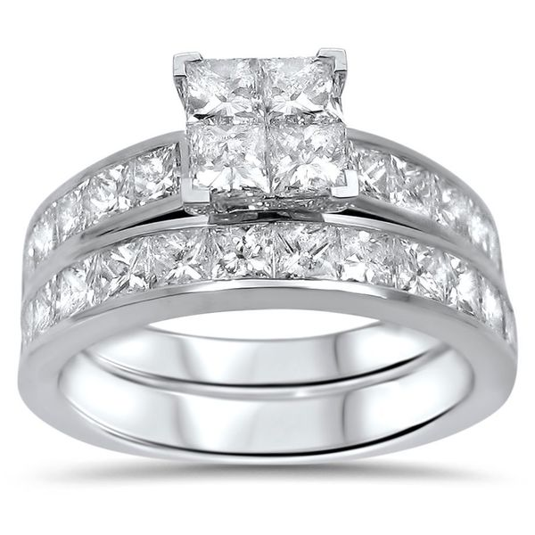 ... Gold 2ct TDW Princess-cut Diamond Quad Bridal Ring Set (H-I, I1-I2