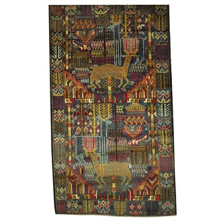 Herat Oriental Afghan Hand-knotted Tribal Balouchi Navy/ Brown Wool Rug (3'10 x 6'9)