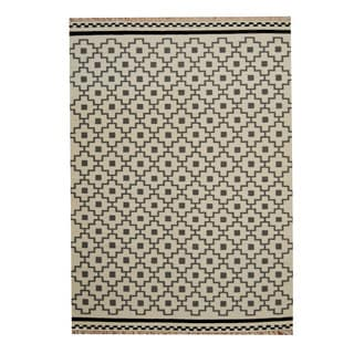 Herat Oriental Indo Hand-Woven Tribal Vegetable Dye Kilim Ivory/ Gray Wool Rug (5'6 x 8')