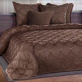 Francheschi Espresso Silk Applique Quilt with Embroidered Edge