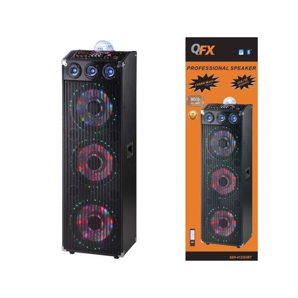 QFX SBX-412303 NFC Bluetooth/ FM Radio/ USB/ SD Card Cabinet Speaker with Built-in Amplifier