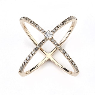 Neda Behnam Diamonds for a Cure 18k Rose Gold 2/5ct TDW Brown Diamond 'X' Criss Cross Ring (G-H, SI1-SI2)