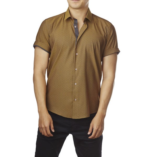 Decaprio Men's Short Sleeve Mustard/ Grey Dot Button-Down Shirt