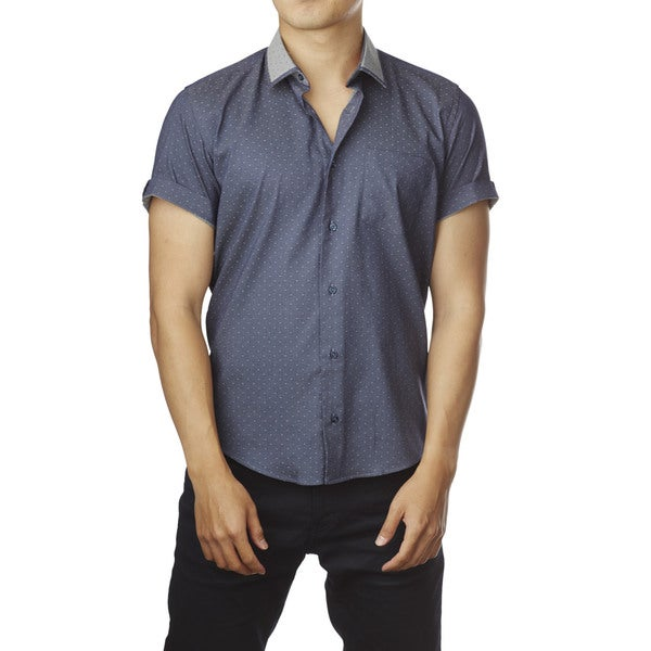 Decaprio Men's Short Sleeve Blue/ Grey Dot Button-Down Shirt