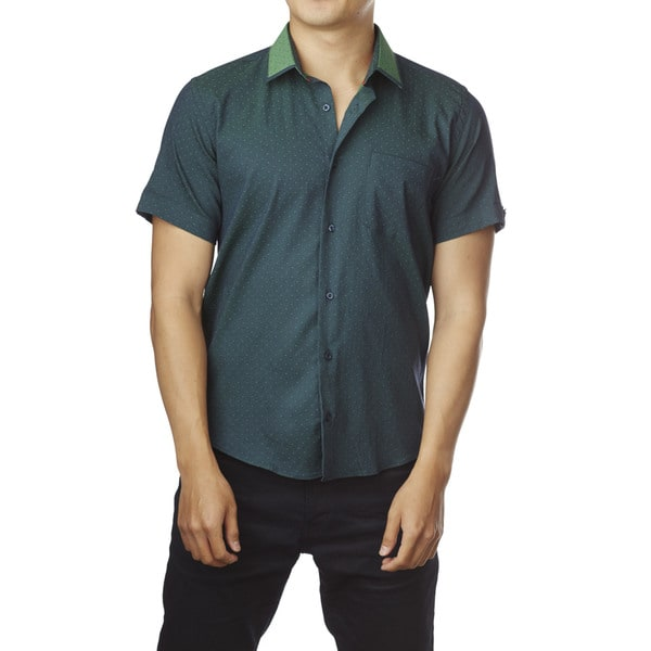 Decaprio Men's Short Sleeve Dark Green/ Light Green Dot Button-Down Shirt