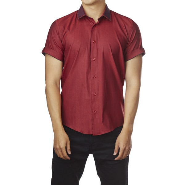 Decaprio Men's Short Sleeve Red/ Dark Red Dot Button-Down Shirt