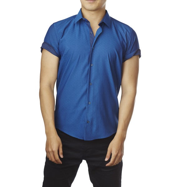 Decaprio Men's Short Sleeve Blue Dot/ Navy Trim Button-Down Shirt