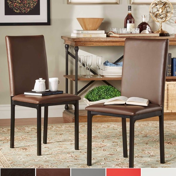 Inspire q darcy espresso metal upholstered dining chair for Inspire q dining room chairs