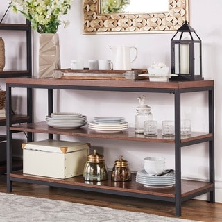 TRIBECCA HOME Somme Rustic Metal Frame Storage Sofa Table TV Stand