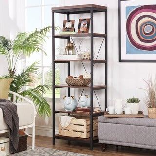 Somme Rustic Metal Frame 6-tier Bookshelf Media Tower