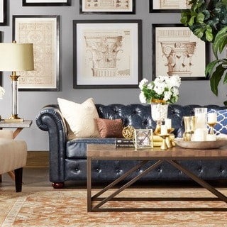 SIGNAL HILLS Knightsbridge Navy Blue Bonded Leather Tufted Scroll Arm Chesterfield Seating