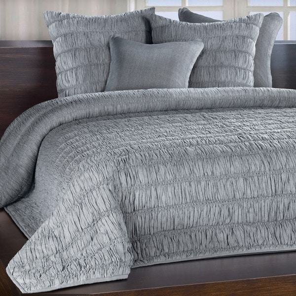 Freya Mist Grey/ Blue Ruched Cotton Quilt