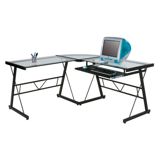 Dainolite Black L Shaped Desk with Clear Glass Top