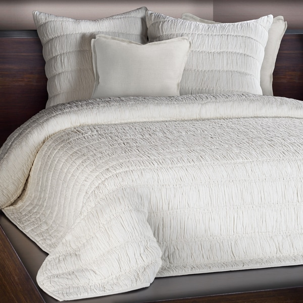 Freya Ivory Ruched Cotton Quilt