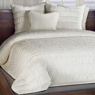 Chauran Freya Ivory Ruched Cotton Quilt